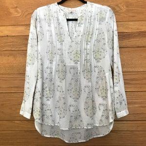 Rebecca Taylor white & yellow cotton blouse
